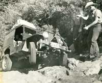 Old image of jeep on the Rubicon trail